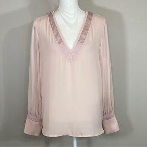 Express Light Pink Long Sleeve V-Neck Blouse